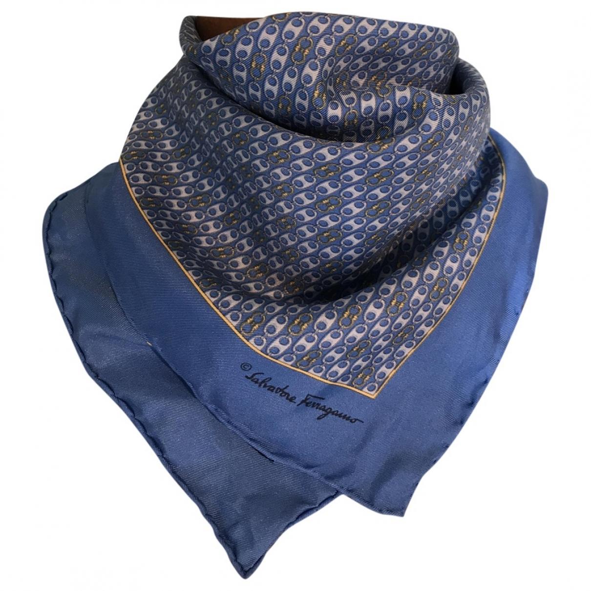 Salvatore Ferragamo - Foulard   pour femme en soie - bleu