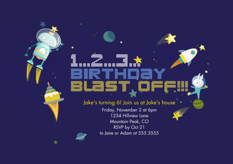 Kids Birthday Party Invites 5x7 Cards, Premium Cardstock 120lb with Elegant Corners, Card & Stationery -Blast Off!