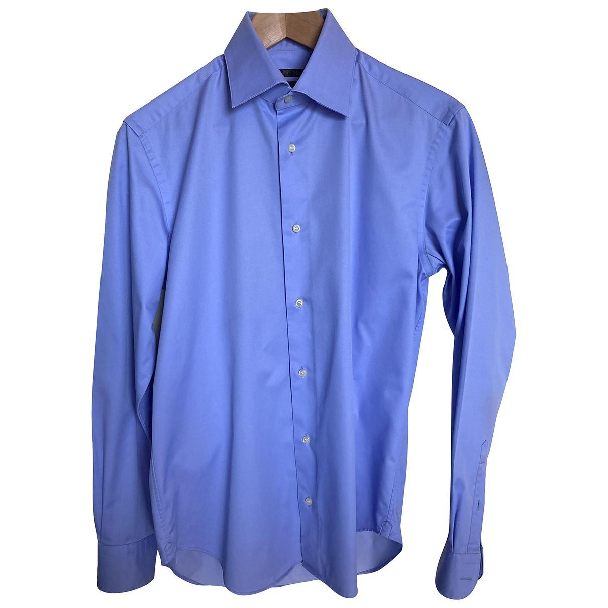Boggi N Blue Cotton Shirts for Men 39 EU (tour de cou / collar)