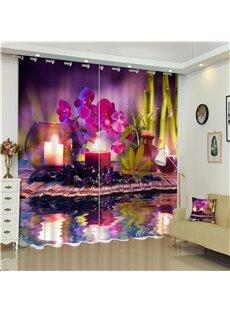 Romantic Purple Iris and Candle Light Charming Scenery Custom Decorative Window Curtain