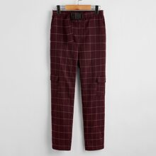 Boys Flap Pocket Side Push Buckle Belted Grid Pants