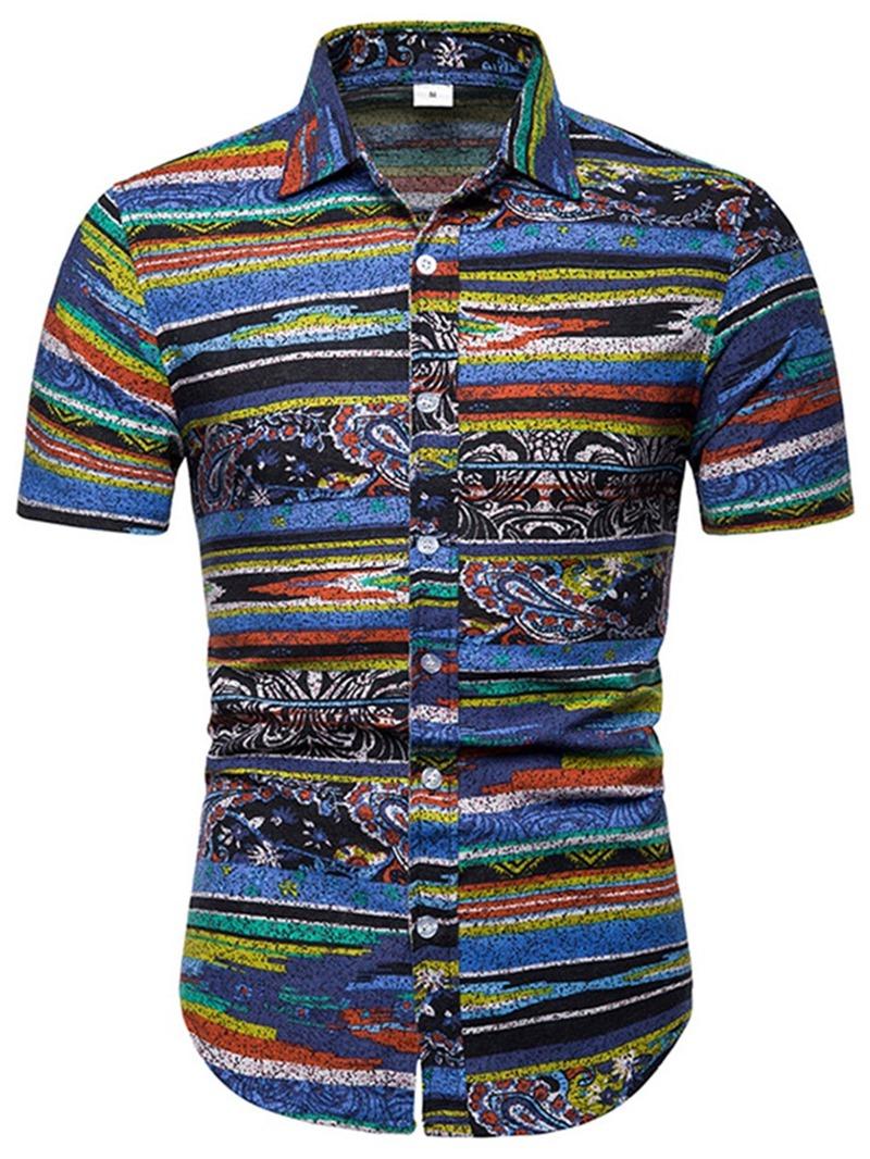 Ericdress Floral Striped Print Mens Shorts Sleeve Casual Shirt