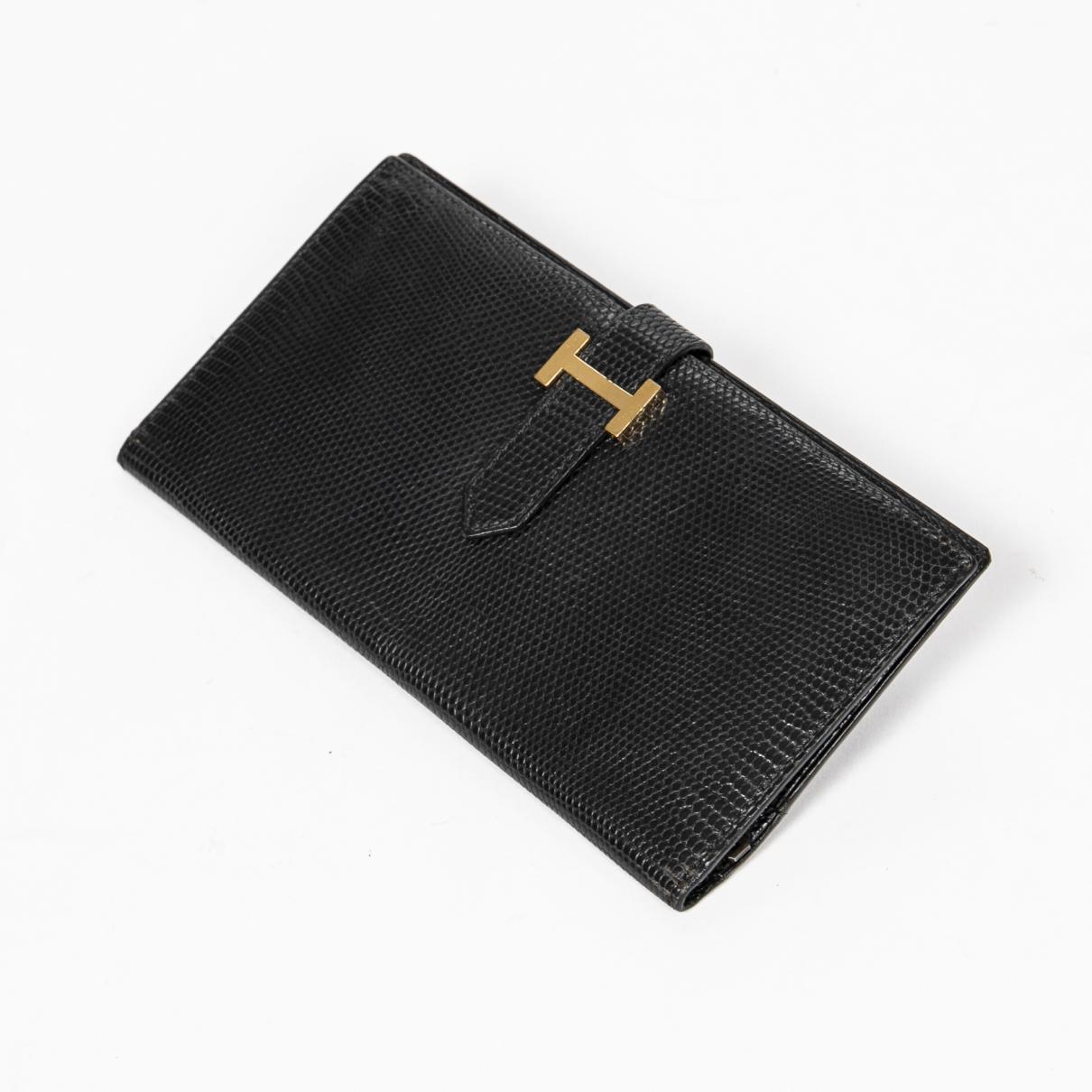 Hermes Bearn Portemonnaie in  Schwarz Leder