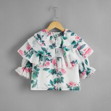 Girls Layered Ruffle Trim Floral 2 In 1 Blouse