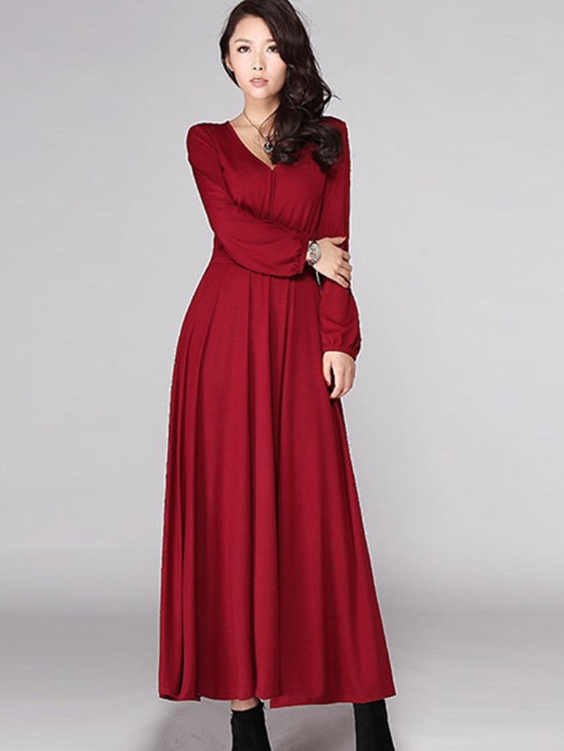 Ericdress V-Neck Pleated Lantern Sleeve Maxi Dress