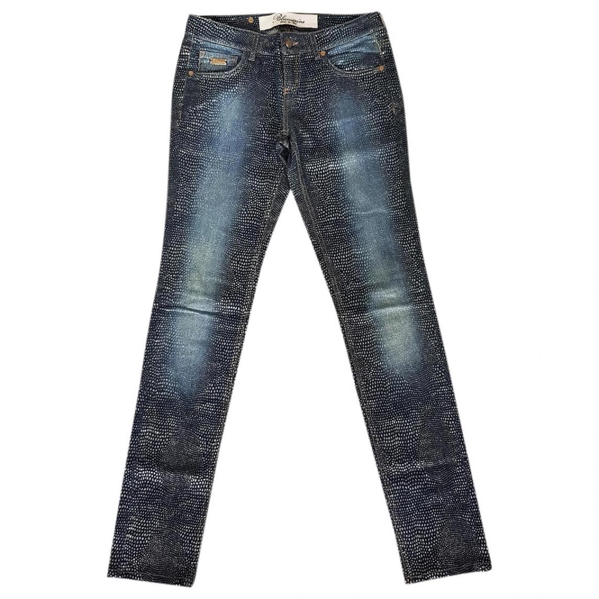 Blumarine \N Blue Cotton Jeans for Women 40 FR