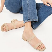 Low Chunky Heel Twin Band Slide Sandals