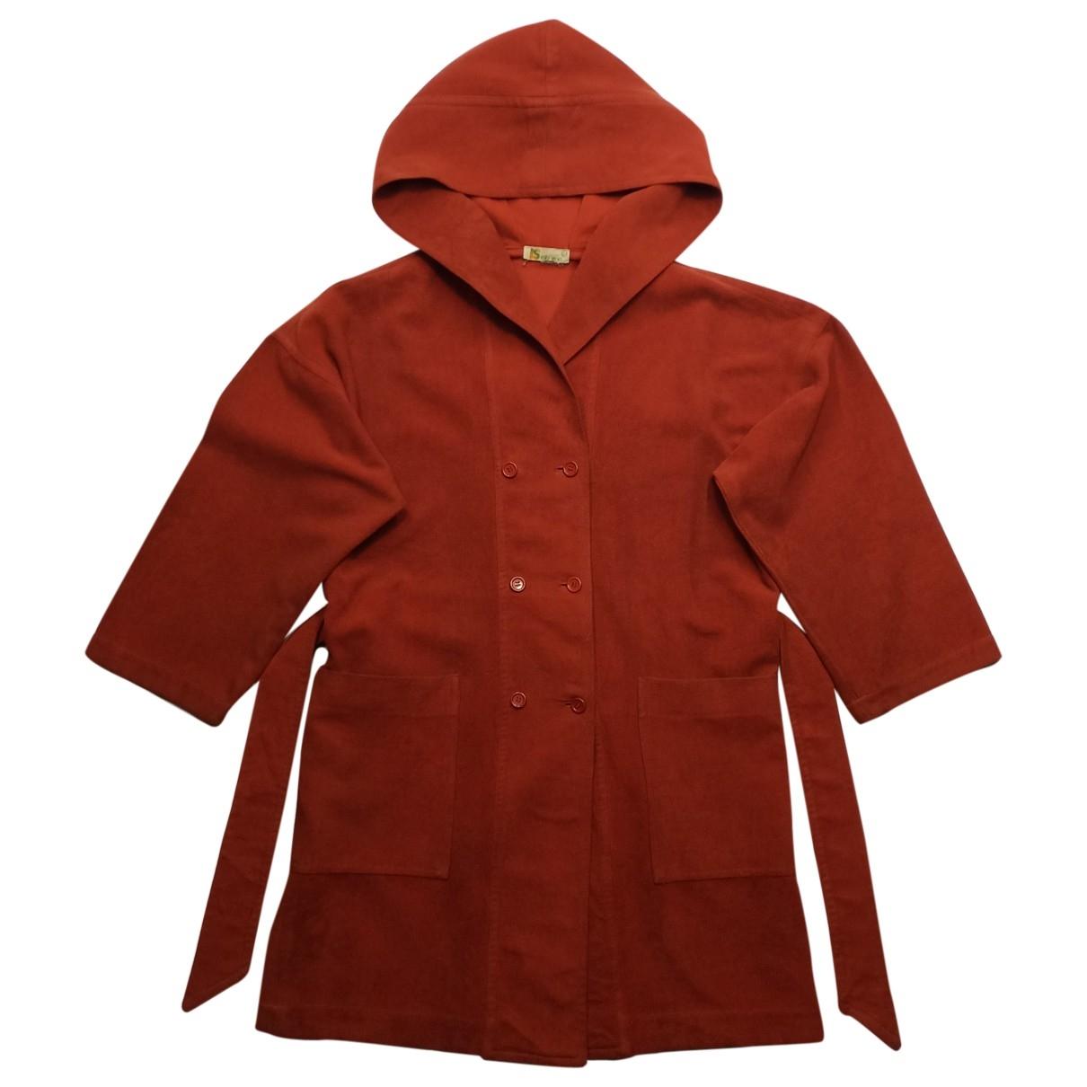 Issey Miyake \N Orange Velvet Trench coat for Women 3 0-5