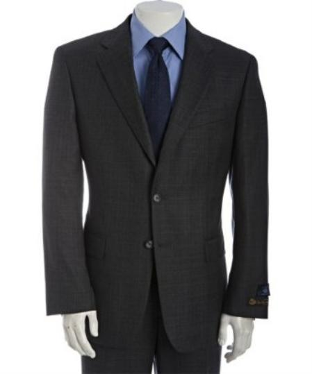 2Button Charcoal Glen Plaid Wool Suit With Single Pleated Pants Mens
