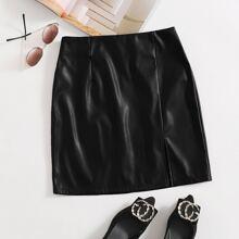 Split Hem PU Leather Skirt