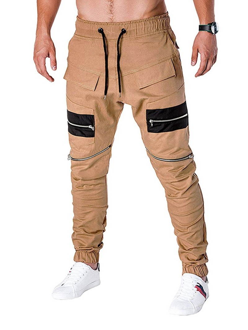 Ericdress Color Block Zipper Four Seasons Lace-Up Men's Casual Pants
