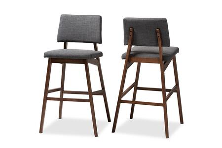 Colton-Dark Grey-BS Baxton Studio Colton Mid-Century Modern Dark Gray Fabric Upholstered and Walnut-Finished Wood Bar Stool (Set of