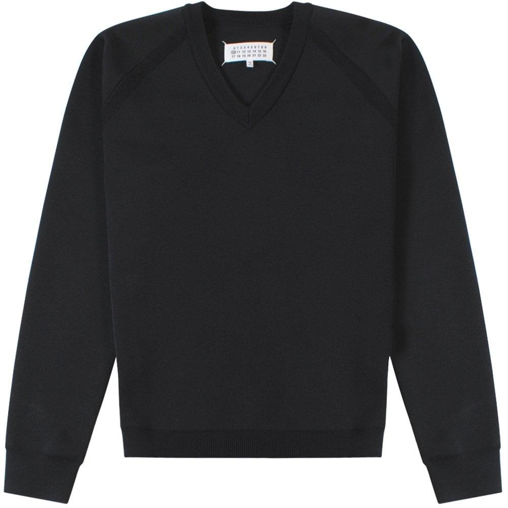 Maison Margiela V Neck Sweatshirt Black Colour: BLACK, Size: SMALL