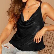 Draped Neck Cut-out Back Satin Cami Top
