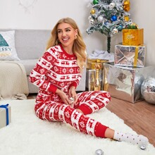 Christmas Print Long Sleeve PJ Set
