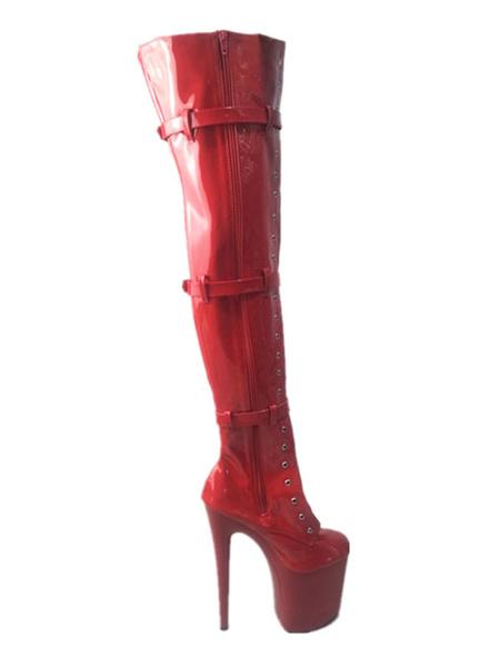Milanoo Women Sexy Boots Round Toe Zipper Zipper Stiletto Heel Rave Club Black Thigh High Boots