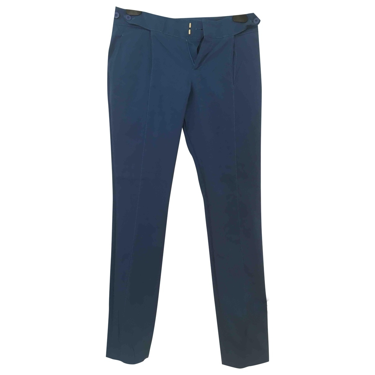 Gucci \N Turquoise Cotton Trousers for Women 36 FR
