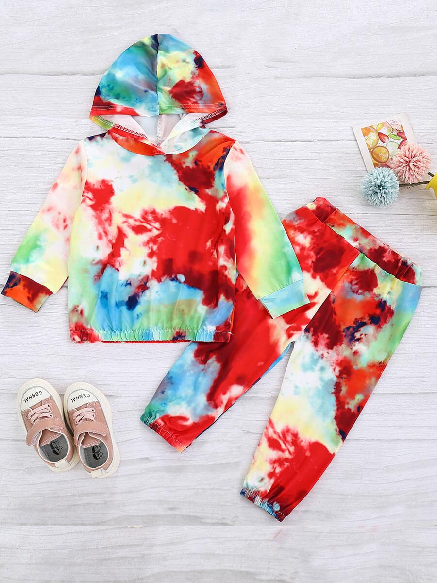 LW Lovely Street Hooded Collar Tie-dye Multicolor Boy Two-piece Pants Set