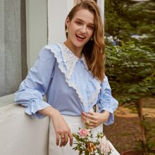 Button Front Guipure Lace Collar Top