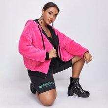 Plus Neon Pink Contrast Trim Faux Fur Coat