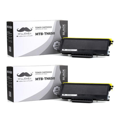 Compatible Brother TN650 Black Toner Cartridge by Moustache, 2 Pack - High Yield