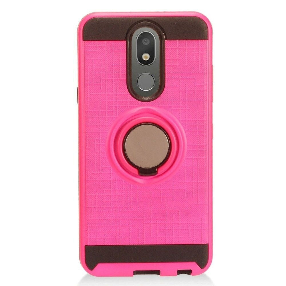 Insten Hard Dual Layer Brushed TPU Cover Case w/stand For LG Arena 2/Aristo 4 Plus/Escape Plus/Tribute Royal - Hot Pink (Pink)
