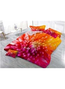 Colorful Chrysanthemum Floral Wear-resistant Breathable High Quality 60s Cotton 4-Piece 3D Bedding Sets