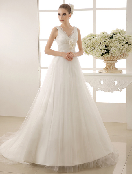 Milanoo V-Neck Chapel Train Wedding Dress With Pearls Detailing