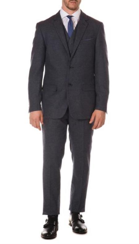 Mens Ferrecci York Navy Slim Fit 3pc Herringbone Suit