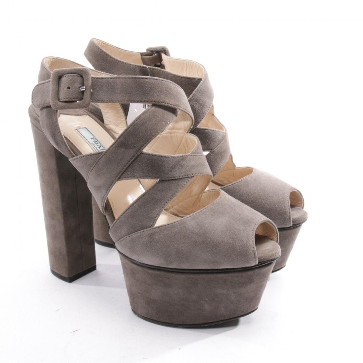 Prada \N Brown Suede Sandals for Women 36.5 EU