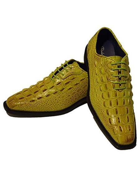 Men's Fashion Light Green~Yellow Lace Up Oxford Dress Shoes