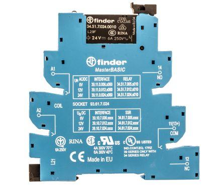 Finder , 24V ac/dc SPDT Interface Relay Module, Screw Terminal , DIN Rail