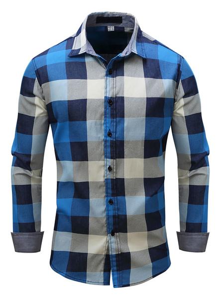 Milanoo Camisa casual para hombres Cuello vuelto Camisas azules estampadas de gran tamaño casuales