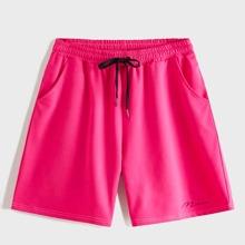 Men Neon Pink Drawstring Waist Shorts