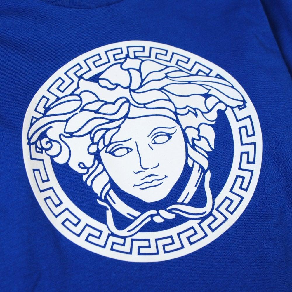 Versace Young Versace Medusa Print T-Shirt Colour: BLUE, Size: 12 YEARS