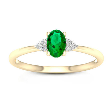 Womens Genuine Green Emerald 10K Gold Promise Ring, 7 1/2 , No Color Family