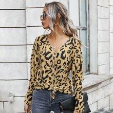 Strickjacke mit V-Kragen, Leopard Muster, Knoten und Knopfen vorn