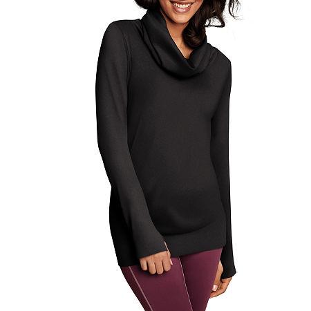 Maidenform Sport Baselayer Seamless Cowl Neck Thermal Shirt, Medium , Black