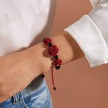 1pc Rose Decor Geflochtenes Armband