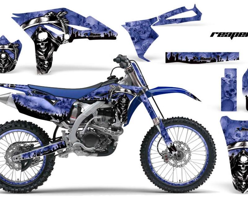 AMR Racing Graphics MX-NP-YAM-YZ250F-10-13-RP U Kit Decal Sticker Wrap + # Plates For Yamaha YZ250F 2010-2013 REAPER BLUE