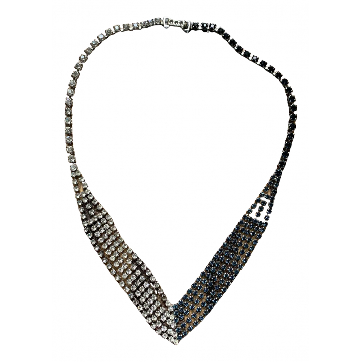 Non Signe / Unsigned Art Deco Kette in  Weiss Metall
