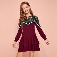 Sweatshirt Kleid mit Kontrast, Pailletten, Streifen, Band und mehrschichtiger Ruesche