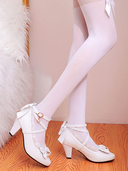 Milanoo Sweet Lolita Footwear Pink RufflesBows PU Leather Prism Heel Lolita Shoes