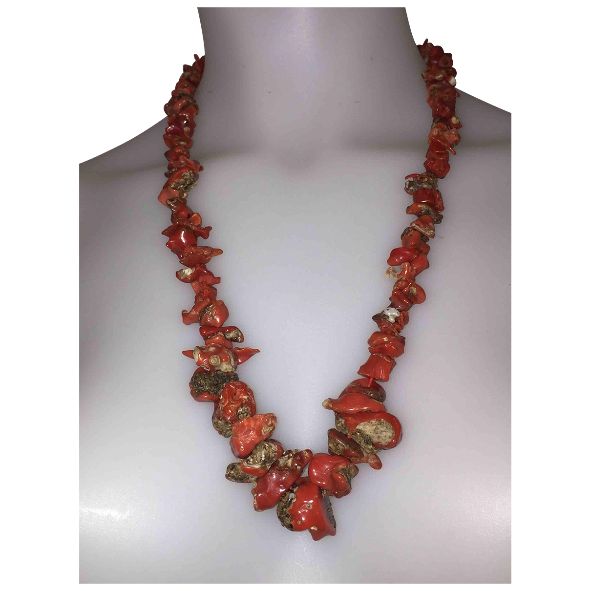 Non Signe / Unsigned Corail Kette in  Rot Metall