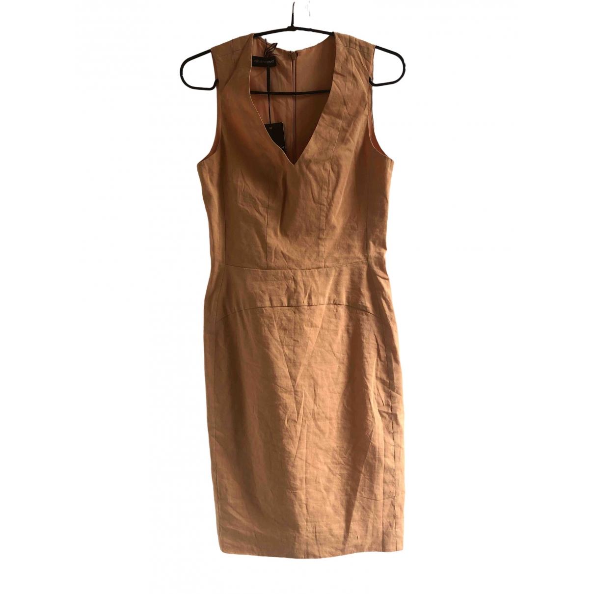 Emporio Armani \N Kleid in  Orange Leinen