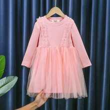 Toddler Girls Contrast Mesh Frill Trim Smock Dress