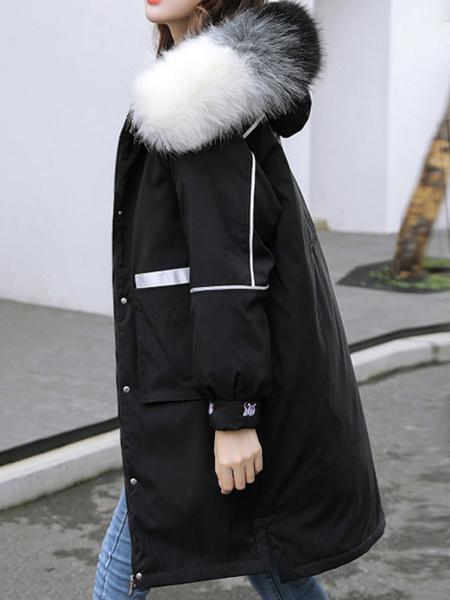 Milanoo Abrigos de parka de mujer Abrigos acolchados bordados de manga larga con capucha de piel sintetica azul