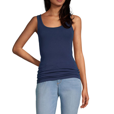 a.n.a Womens Scoop Neck Sleeveless Tank Top, X-large , Blue