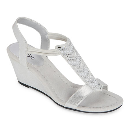 east 5th Womens Bobster Wedge Sandals, 7 1/2 Medium, Silver