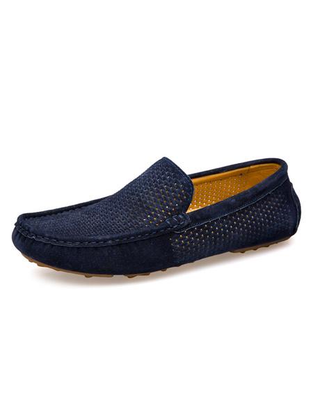 Milanoo Zapatos de conduccion para hombres Mocasines con punta redonda y piel de cerdo en mocasines